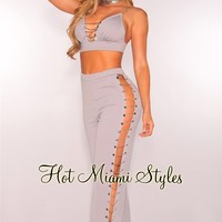 Gray Silver Chain Two Piece Set