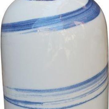 White Beauty Vase Blue Brushstrokes Spinning - Tall