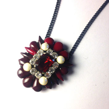 Ruby Painted Enamel, Pearl, and Crystal Statement Pendant Bridesmaids Necklace