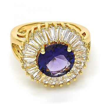 Gold Layered Multi Stone Ring, Flower Design, with Cubic Zirconia, Golden Tone