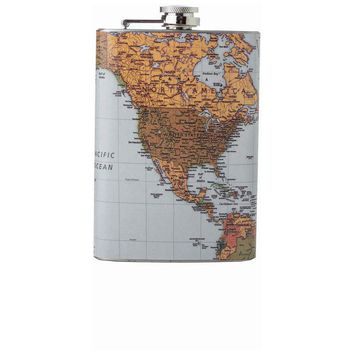 8oz Stainless Steel Flask with Antique World Map