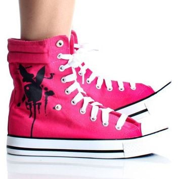 Playboy Bunny Womens High Top Sneakers Skate Shoes Pink Lace up Boots