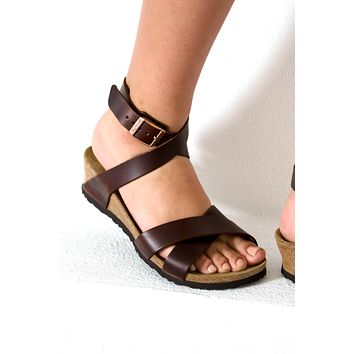 Lola Leather Cognac Wedge | Papillio by Birkenstock