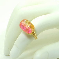 Pink Crackle Glass Ring Cotton Candy Gold Plated Wire Wrapped Ring Size 7
