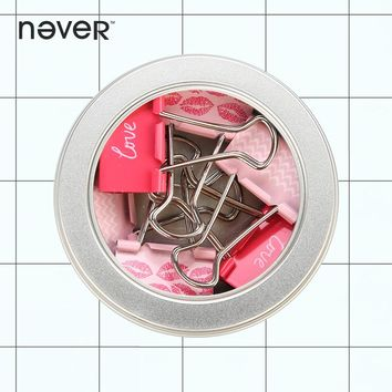 Never Valentine's Day Theme Metal Binder Clips Kawaii Paper Clip Memo Holder Fashion Pinces Office Accessories Stationery Store
