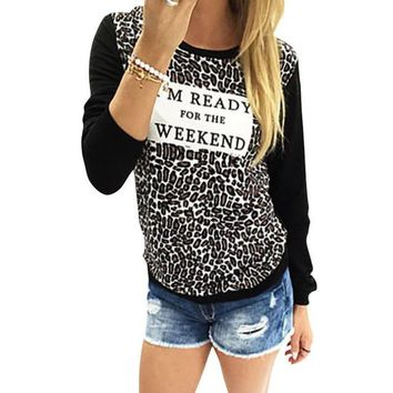 Autumn Style 2016 Fashion Women Leopard Print Shirts Long Sleeve Casual Loose T shirt Female Tee Tops T-shirt Women Clothes