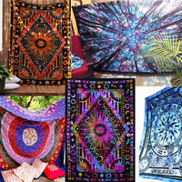 colorful tapestries wall hangings bohemian hippie sun moon tie dye psychedelic