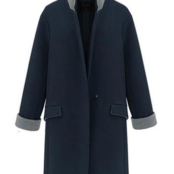 Lapel One Button Wool Coat