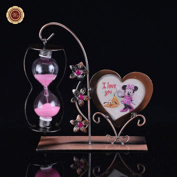 Gift Item Time Clock Sandglass Creative Iron Hourglass Sand Timer with Photo Frame Home & Office Decor