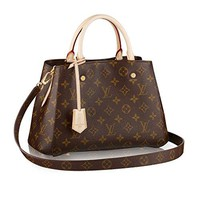 LV Women Shopping Leather Tote Louis Vuitton Monogram Canvas Montaigne BB Handbag Article:M41055 Made in France