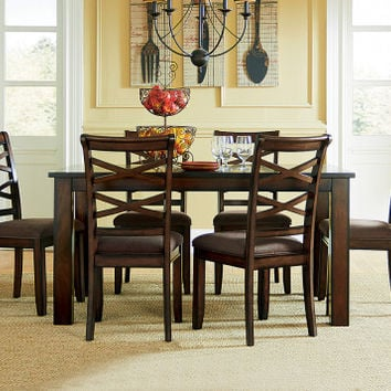 Cherry Stain Dining Table Set   Redondo Seven Piece Dinette Set   American Freight