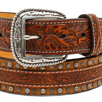 Brandy Studded Engraved Western Leather Belt
