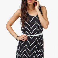Zig Zag Square Print Chiffon Dress - Diva Hot Couture