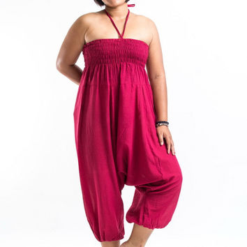 Plus Size Solid Red Jumpsuit Harem Pants
