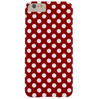 Trendy Vintage Dark Red and White polka dots iPhone 6 Plus case by PLdesign