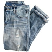 J.Crew Destroyed boyfriend jean in light roxy wash