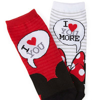 FOREVER 21 I Love You Ankle Socks Black/Red One