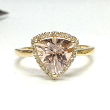 Morganite Engagement Ring 14K Yellow Gold!Diamond Wedding Bridal Ring,Halo,8mm Trillion Cut Pink Morganite,Can make matching band