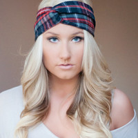 flannel twist headband/ ear warmer