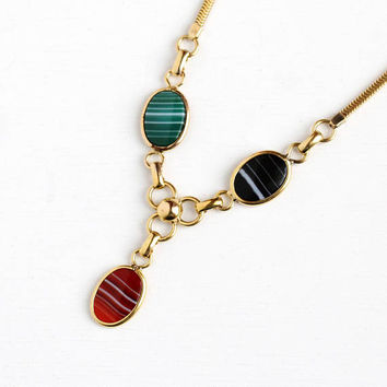 Vintage Gem Necklace - 12k Rosy Yellow Gold Filled Banded Agate & Onyx Pendant - Retro Genuine Colorful Gems Statement Snake Chain Jewelry