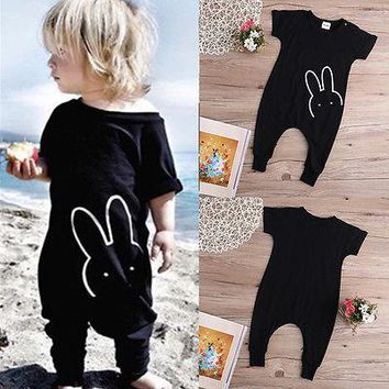 2016 Newborn Infant Baby Boy Girl Quote Short Sleeve Bunny Romper Toddler Jumpsuit Playsuit Clothes 3M-4Y