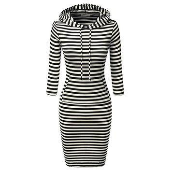 2017 Fashion Women Striped Hoody Hoodie Hooded with Pockets Spring Autumn Wear Bodycon Soft Elasticity Casual Pencil Dress