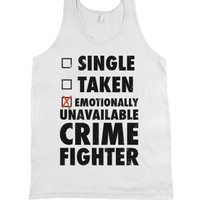 Emotionally Unavailable Crime Fighter (Tank)-Unisex White Tank