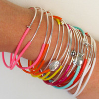 Set of 9 Summer Multicolor Customizable Stacked Bangle Bracelet Charm Bangle Layered Boho Bracelet Handmade  Bohemian Mix And Match Jewelry