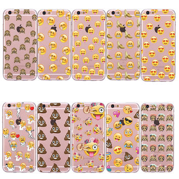 Fashion Funny Emoji Silicon Case For iPhone 6 6S 6 6s Plus 5 5S SE Capinha Phone Back Cover Soft TPU Coque For iPhone6 6 S 6Plus