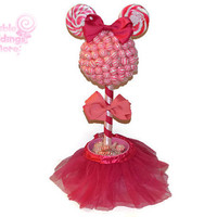 Customizable Lollipop Girl Mouse Topiary, Pink Candy Topiary, Pink Mouse Centerpiece, Centerpiece,  Lollipop, Candy, Pink, Birthday, Mouse