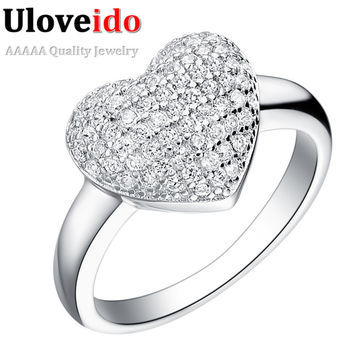 Silver Ring Jewelry Heart Shape Zircons CZ Diamond Jewelry Rings Engagement Wedding Acessorios Aliancas De Casamento Ulove J070