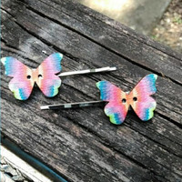 Rainbow Butterfly Hair Pins - Butterfly Hair Accessories - Bobby Pins - Tie Dye Hair Accessories - Boho Style - Bohemian - Hippie #513