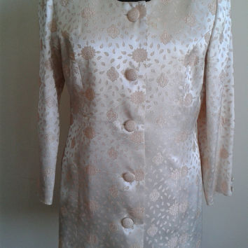 1980's Vintage Haute Couture Evening Silk Brocade Evening Coat. SİZE 42