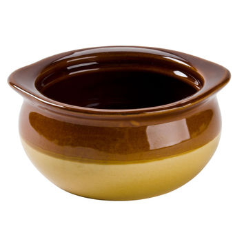 Soup Bowl - Brown and Ivory 12 oz. Onion Soup Crock / Bowl