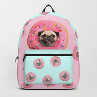 Pug Strawberry Donut Backpack by lostanaw