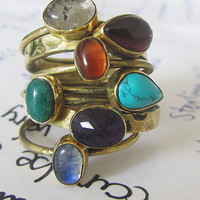 stackable gemstone rings turquiose Amethyst garnet Labradorite Agate Carnelian Calcite brass rings size 6 fashion jewelry