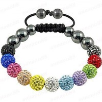 Hot Sell Shamballa Disco Magnetite Ball Beads Macrame Bracelet / CJ-B-118 | anna0088 - Jewelry on ArtFire