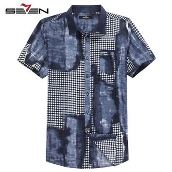 Seven7 Brand Men Trendy Shirts Short Sleeve Slim Fit Pattern Print Shirts Summer Casual Button Down Shirts with Pocket 704A3566