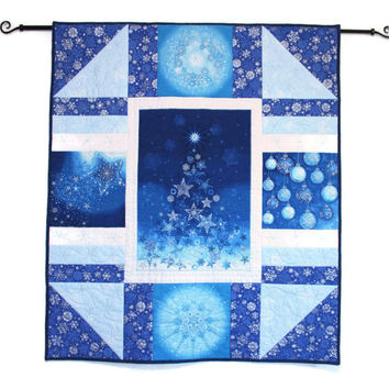 Christmas Wall Hanging Quilt, Blue Silver Quilted Christmas Wall Hanging, Blue Christmas Tree Panel Quilt, Quiltsy Handmade