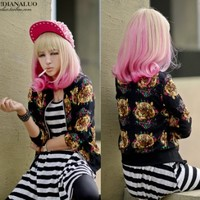 Bleach Blonde+pink Long New Woman Fashion Full Hair Wig Curly Wavy Sexy Cosplay