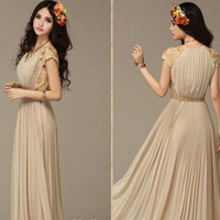 Women  Dress French  Pleated Chiffon skirt  Long by swanstore