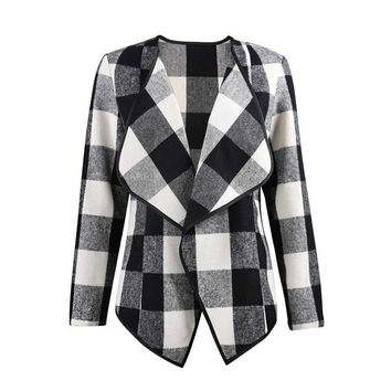 Women Plaid Jacket Overcoats Autumn Winter Retro Plaid Print Jackets Coat Turn-down Collar Long Sleeve Casual Asymmetric Outwear