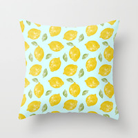 Lemon and Leaves Pattern Throw Pillow by Doodle's Designs