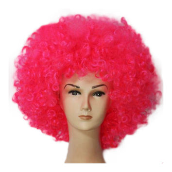 Fashion Afro Cosplay Curly Clown Party 70s Disco Cosplay Wig Cheering Squad Clown   Pink