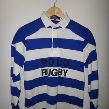 New Year Sale Vintage Polo Ralph Lauren Rugby # 26 Shirt Polo Rugby 90s Blue and White Long Sleeve Stripe Excellent Condition