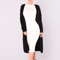 Abella Sweater Duster - Black/Charcoal