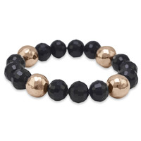 Black Glass and 14 Karat Rose Gold Plated Stainless Steel Bead Stretch Bracelet