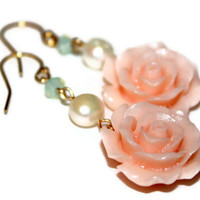 PASTEL ROSE EARRINGS / handmade cabochon wirewrapped earrings / ft. pearls, swarovski crystals, cabochons, 14k  gold wire  / gifts under 50