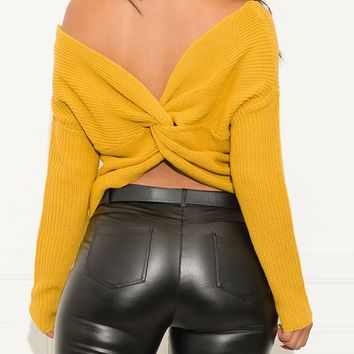 Simple Things Faux Wrap Sweater Mustard