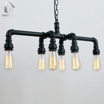 Rustic Copper Metal Water Pipe Chandelier Max. 240W with 6 Lights Painted Finish